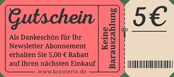 5 Euro Rabatt-Gutschein für Newsletter Anmeldung