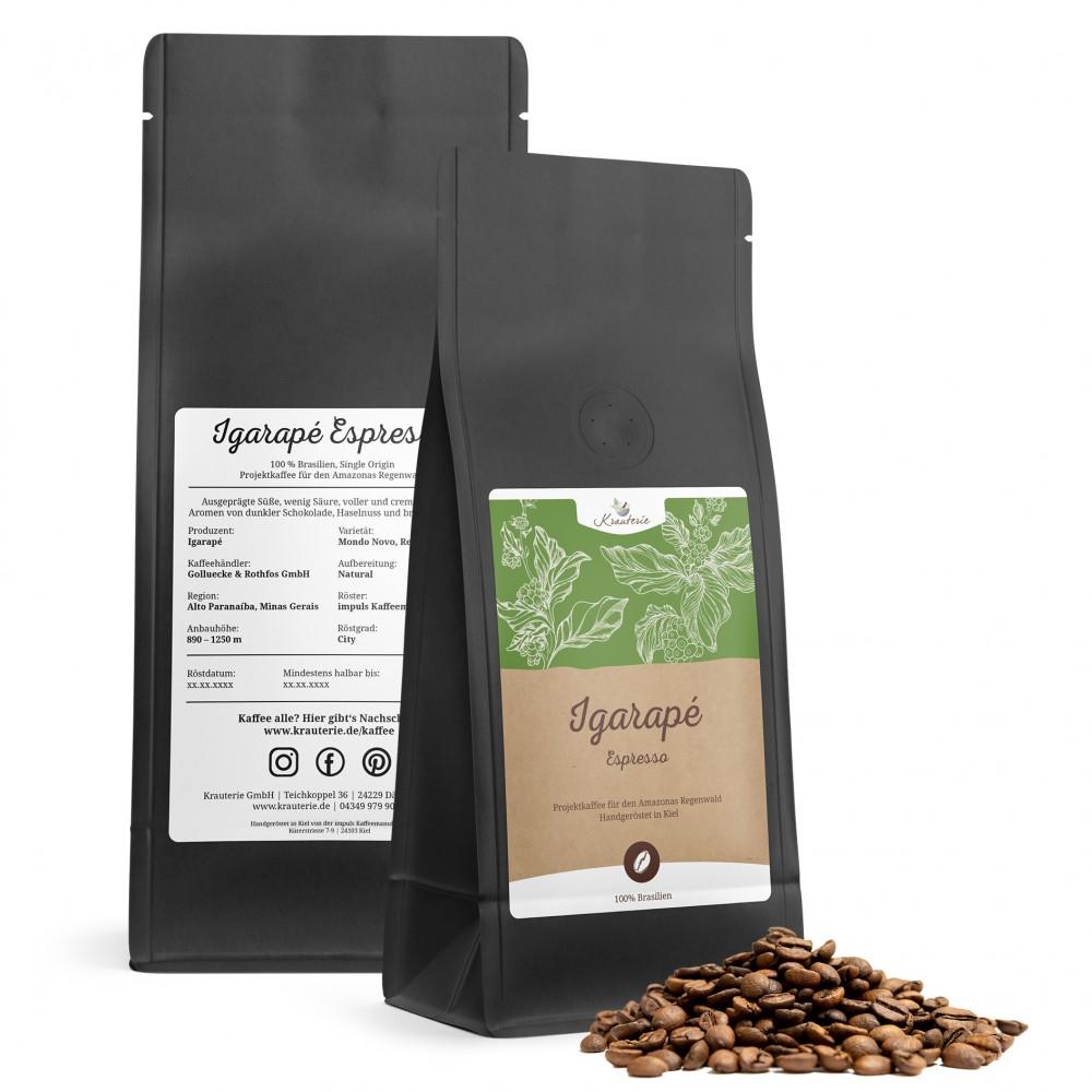 Krauterie Spezialitätenkaffee Brasilien Espresso - Tüten 250g und 500g