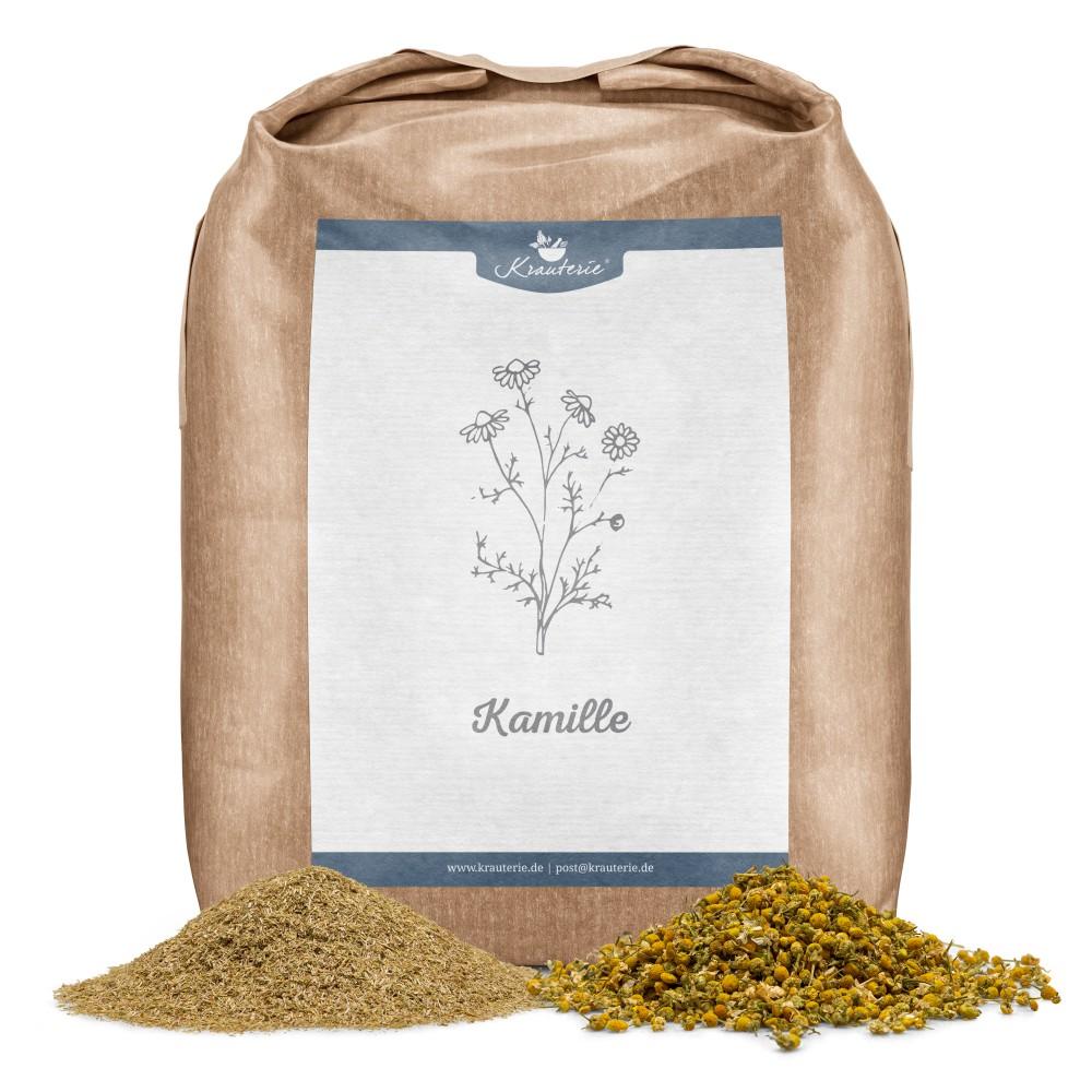 Krauterie Kamillenblüten für Pferde, Feinschnitt und ganze Blüten, Verpackung