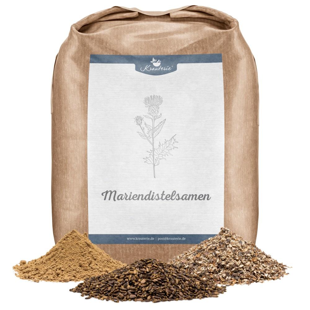 Mariendistelsamen für Pferde, ganze Samen, geschrotet und Pulver, Verpackung