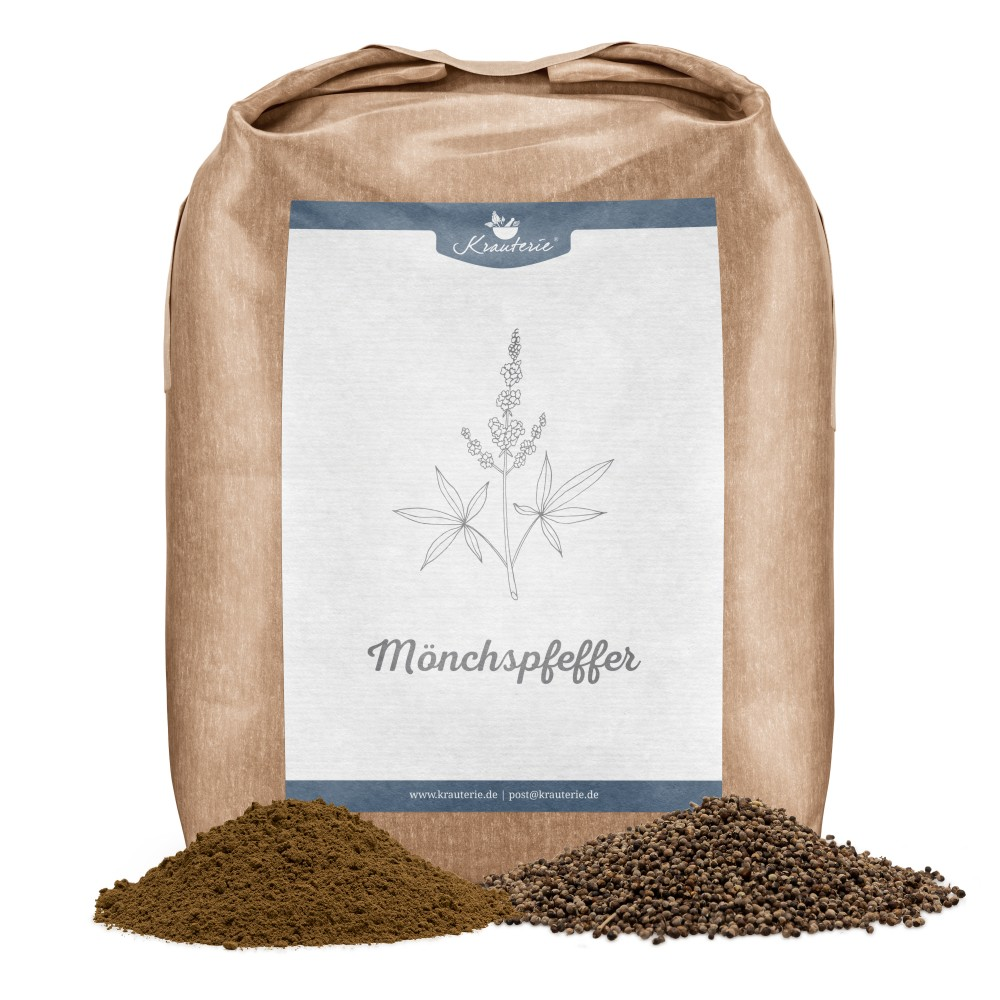 Krauterie Mönchspfeffer für Pferde, geschnitten und Pulver, Verpackung