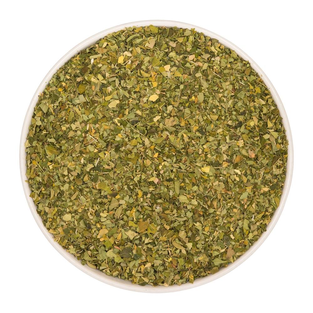 Krauterie Moringablätter (Moringa ovalifolia) geschnitten Detail